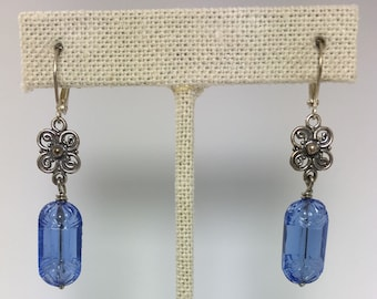 vintage blue glass tablet earrings