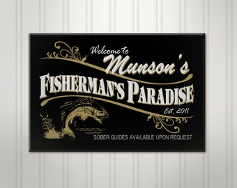Personalized Fishing Sign, Fisherman ManCave Pub Sign, Personalized Sign, Personalized Beer Sign, Man Cave Bar Decor