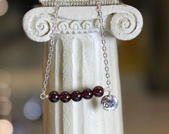 Minimalist Garnet Love Charm Necklace, Dainty Necklace, Mothers gift, Gift for her, Birth Stone, Birthday gift