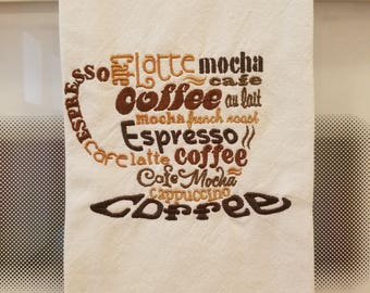 Embroidered Kitchen Tea Towel - Coffee Lovers Cup