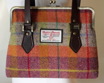 Harris Tweed Tartan Check Kisslock Handbag with Leather Straps