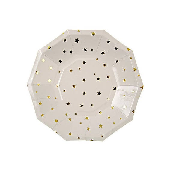 Gold foil star dessert plate - Set of 8. Gold stars paper plates. Twinkle Twinkle Little Star plate. Gold and white paper plate. NYE plate  sc 1 st  Etsy & Gold foil star dessert plate Set of 8. Gold stars paper