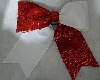 Red Sequins on White Hairbow