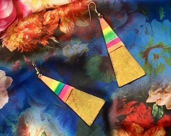Rainbow Gold Triangle Earrings