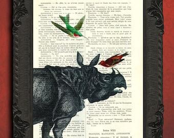 Rhino art, rhinoceros and hummingbird, rhino print vintage dictionary art, rhino head with birds print, safari art
