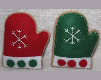 10% OFF - Felt Play Food - Cookies - Christmas - Mittens - #147