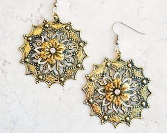 Moroccan Flower Filigree Earrings, Southwestern Statement Flower Earrings