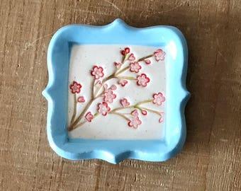 Cherry Blossom Dish, Ring Dish, Small Dish, Handmade Ceramics, Spring Dish, Flower Dish, Pink Flower Dish, Wedding Ring Holder, Blossom Dish