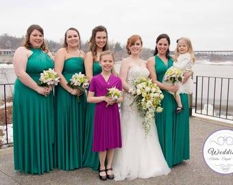 Green Bridesmaid Dress, Jade Green finity dress, convertible wrap dress, formal dress, short multi wear dress, twist wrap dress long gawn