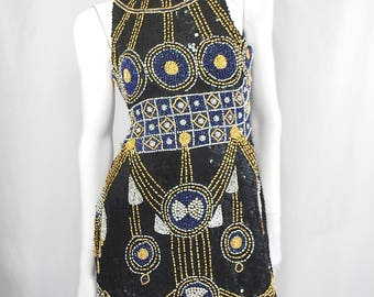 Vintage Black Blue/Purple Beaded Sequin Halter Dress Small