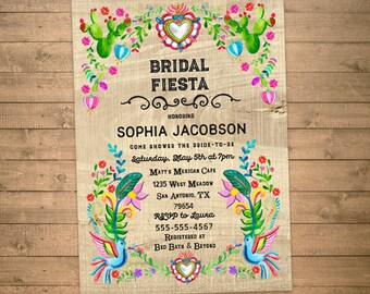 bridal fiesta invitations, bridal shower invites, mexican themed, faux wood grain, printable JPG or PDF digital file