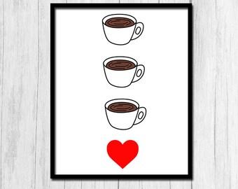 """Coffee Cup Art """"I Love Coffee"""" Coffee Cup Print Digital Download Coffee Cup Prints Coffee Coffee Print Coffee Prints Instant Download Coffee"""