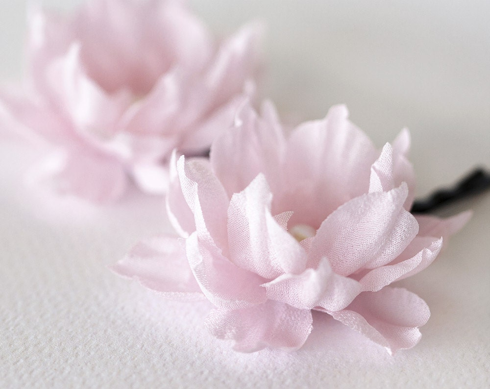 Blush Pink Hair Accessories Flower Hair Clips Wedding Hair