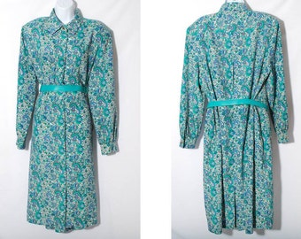 Paisley Dress, Floral Dress, Button Down Dress, Belted Dress, Teal Blue Dress, Vintage 80s Dress, Day Dress, Retro Dress, Size 18 Dress