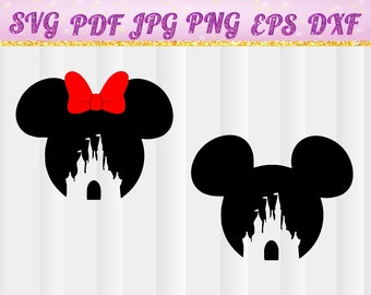 Disney Castle SVG,Head Mickey Mouse svg,Magic Kingdom,Magic Kingdom svg,Disneyland,Silhouette,svg,pdf, png,dxf,eps,Cut Files,castle,cricut