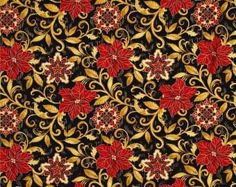 Floral Fabric, Vine Fabric:  Timeless Treasures Natalia Metallic Poinsettia Scroll Allover Black  100% Cotton Fabric by the yard  (TT26)