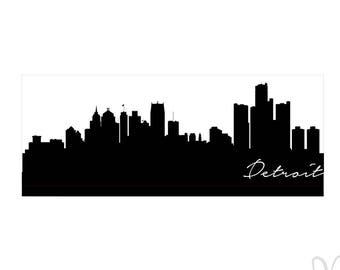"Detroit City Skyline Silhouette with Script ""Detroit"" - Instant Download File - SVG / JPG / Studio3 / PDF"