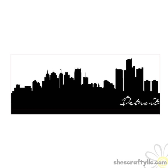 detroit city skyline silhouette with script detroit instant rh etsystudio com detroit city skyline vector detroit skyline outline vector