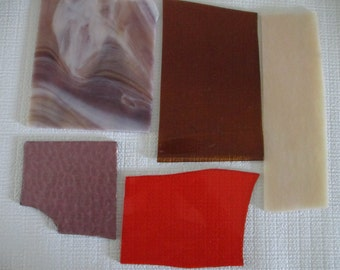 Shades of Fall transparent and opaque  stained glass scrap pieces
