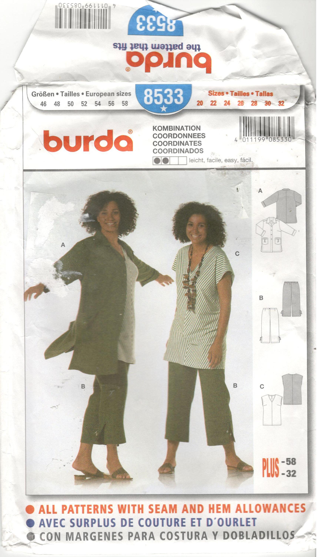 Burda 8533 Size 20, 22, 24, 26, 28, 30, 32 Women\'s plus size capris ...