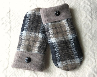 Sweater Wool Mittens in Black and Tan Plaid, Adult Size, Lined Felted Wool and Mohair Mittens