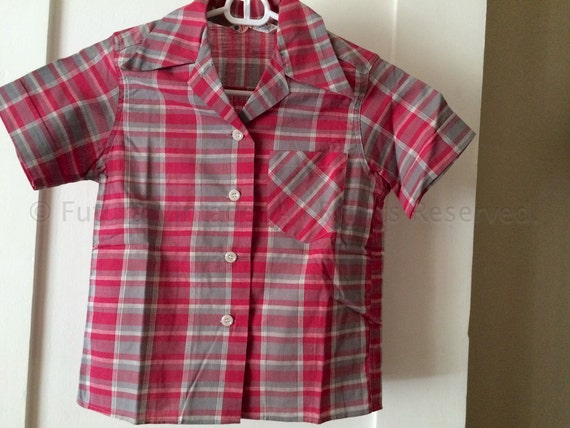 1950s Adorable Pink and Grey Plaid Short Sleeve Button Front JEANIE BLOUSE with Pocket-Girls Size 10