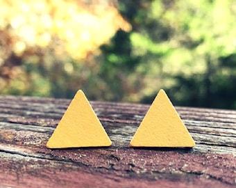 Yellow Triangle Wood nickel-free earrings - 17mm