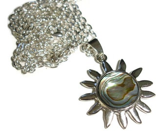 Abalone sun moon pendant on 30 inch silvertone necklace abalone shell necklace