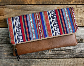 Southwestern Tribal Style Foldover Clutch / Aztec Navajo fabric Clutch