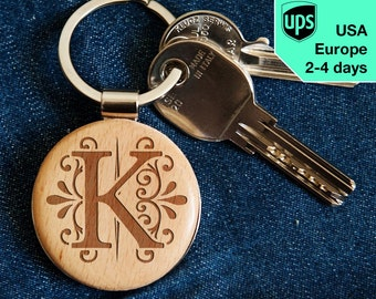 Monogram 2 - key chain, personalized laser engraved wooden key chain