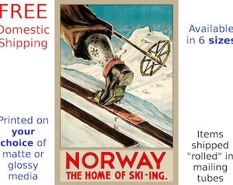 Norway Travel Poster, Norwegian Art Print - Norway - Home of Ski-ing, Home Decor Wall Art (510860447)