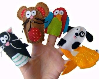Animal Finger Puppets - Pets / Children / Kids Felt Puppet / Cat / Hamster / Parrot / Dog / Fish - 5