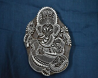 Lord Ganesha Wooden Stamp -Textile Stamps - Fabric Stamp - Hand Carved Indian Wood Block - Textile Printing Block, Stamp Blocks