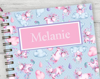 Cute Unicorn hardback spiral journal, personalized note book, custom monogram notebook, girls custom notebook, blank journal, gift, NBW07