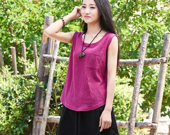 2018 NEW! Women cotton and linen T-shirt – Sleeveless summer thin loose vest style t-shirt with pocket