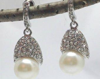 Rhodium Plated Earrings, Jewellery  Dangle Pearl Earrings