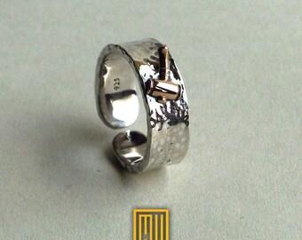 Ring for Worshipful Master 14k Rose Gold Hammer, Main Body Hammered 925k Sterling Silver