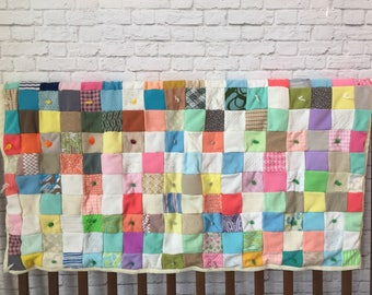vintage patchwork quilt, multi-colored vintage quilt, multi-color baby quilt, vintage handmade lap quilt, checkered quilt, bright crib quilt