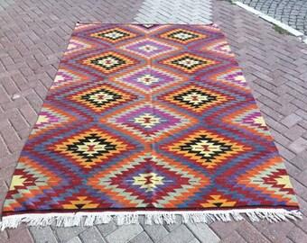 Turkish Kilim rug, area rug, vintage rug, bohemian rug, Turkish rug, bright rug, Turkish, rug, colorful rug, boho rug, purple rug, 675