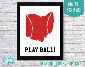 Printable 8x10 Ohio Silhouette with Baseball Laces, Play Ball Digital Art Print | High Resolution JPG File, Instant Download, Ready to Print