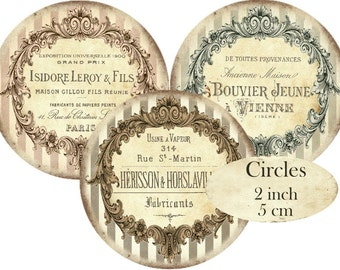 French Frames Circles 2 inch Shabby Chic Ephemera Instant Download digital collage sheet C238 Ornament Scroll