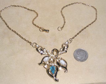 Vintage Signed Coro Rhinestone Necklace With Glass Moon Stones And Enamel 1940's Jewelry 11006