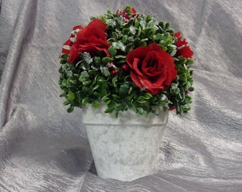 Frosted Rose Topiary