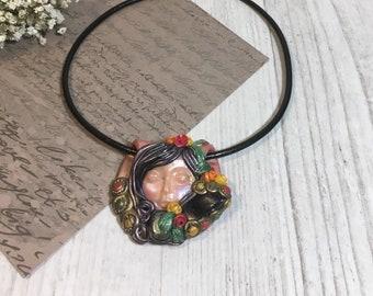 Face pendant - Face pendant necklace - Face necklace - Polymer clay pendant - Polymer clay pendant necklace - Goddess pendant