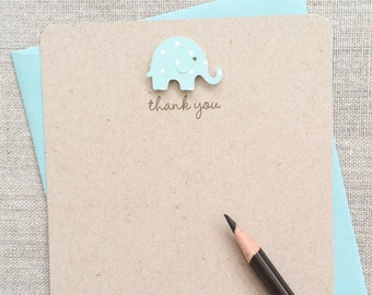 Baby Elephant Baby Boy Baby Shower Thank You Cards, Recycled Kraft Baby Elephant Baby Shower Thank You Cards, Handmade Baby Shower HANDMADE