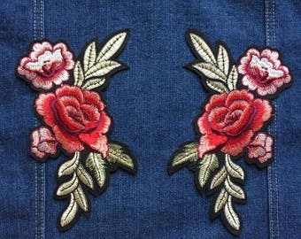 Rose Patch Flower Patch - Iron on Patch, Sew On Patch, Embroidered Patch