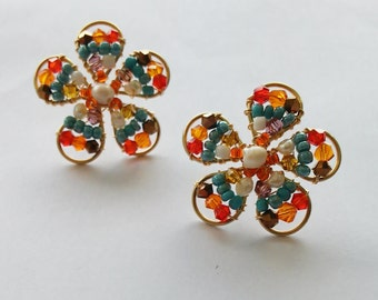 flower earrings, handmade earrings, earrings, red earrings