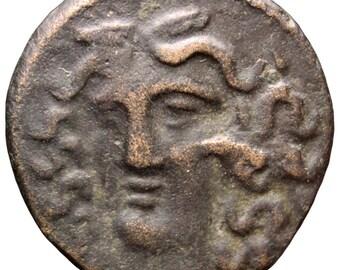 360 - 325 BC. Ancient Greek Thessaly Larissa Æ Dichalkon Coin