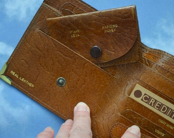 Vintage Leather Wallet Small Sized Stud Fastening Parking Money Bank Notes Cards Stamps Keys Pencil Smart Gentlemans Suit Accessory Gift!