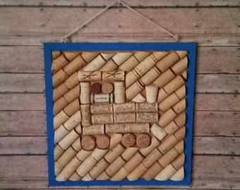 train cork art, train, cork art, train decor, train frame, train picture frame, train art, cork board, wine cork art, wine corks, cork